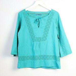 PrAna Stitch Detail Organic Cotton 3/4 Sleeve Top